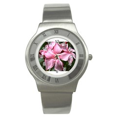 Pink Oleander Stainless Steel Watches by timelessartoncanvas