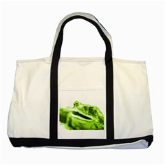 Green Frog Two Tone Tote Bag  by timelessartoncanvas