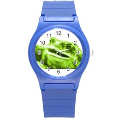 Green Frog Round Plastic Sport Watch (s) by timelessartoncanvas