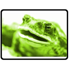 Green Frog Double Sided Fleece Blanket (large)  by timelessartoncanvas