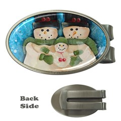 Snowman Family Money Clips (oval)  by timelessartoncanvas