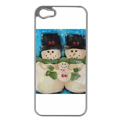 Snowman Family Apple Iphone 5 Case (silver) by timelessartoncanvas