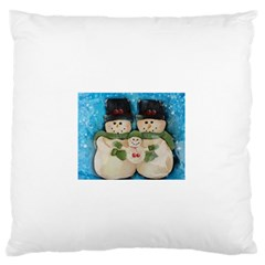 Snowman Family Large Flano Cushion Cases (one Side)  by timelessartoncanvas
