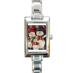Snowman Family No. 2 Rectangle Italian Charm Watches
