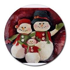Snowman Family No. 2 Round Mousepads