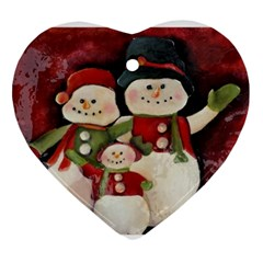 Snowman Family No. 2 Ornament (Heart)