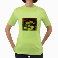 Snowman Family No. 2 Women s Green T-Shirt