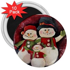 Snowman Family No. 2 3  Magnets (10 pack)