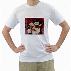 Snowman Family No. 2 Men s T-Shirt (White) (Two Sided)
