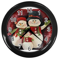Snowman Family No. 2 Wall Clocks (Black)