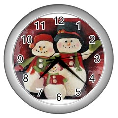 Snowman Family No. 2 Wall Clocks (Silver)