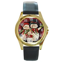 Snowman Family No. 2 Round Gold Metal Watches