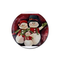 Snowman Family No. 2 Rubber Round Coaster (4 pack)