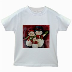 Snowman Family No. 2 Kids White T-Shirts