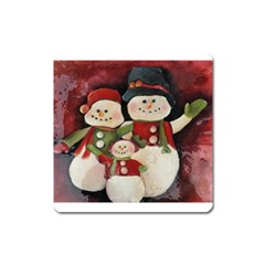 Snowman Family No. 2 Square Magnet