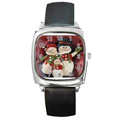Snowman Family No. 2 Square Metal Watches