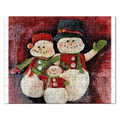 Snowman Family No. 2 Rectangular Jigsaw Puzzl
