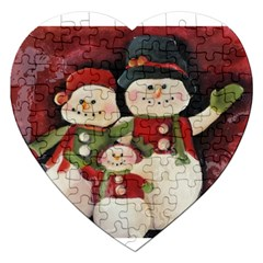 Snowman Family No. 2 Jigsaw Puzzle (Heart)