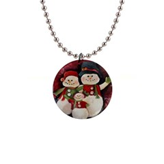 Snowman Family No  2 Button Necklaces by timelessartoncanvas