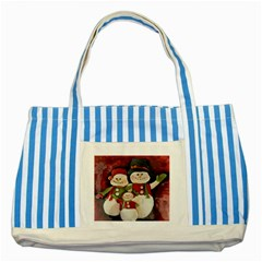 Snowman Family No. 2 Striped Blue Tote Bag
