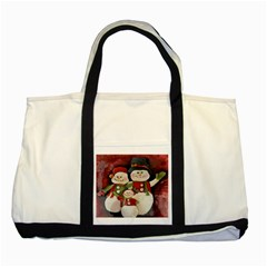 Snowman Family No. 2 Two Tone Tote Bag