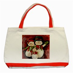 Snowman Family No. 2 Classic Tote Bag (Red)