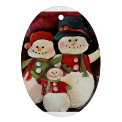 Snowman Family No. 2 Oval Ornament (Two Sides)