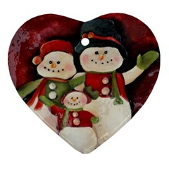 Snowman Family No. 2 Heart Ornament (2 Sides)