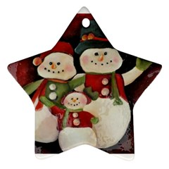 Snowman Family No. 2 Star Ornament (Two Sides)
