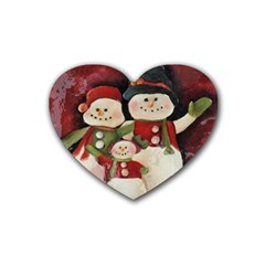 Snowman Family No. 2 Rubber Coaster (Heart)