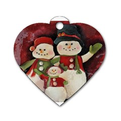 Snowman Family No. 2 Dog Tag Heart (One Side)