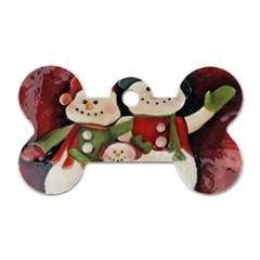 Snowman Family No. 2 Dog Tag Bone (Two Sides)