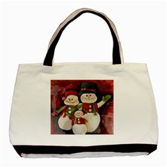 Snowman Family No. 2 Basic Tote Bag (Two Sides)