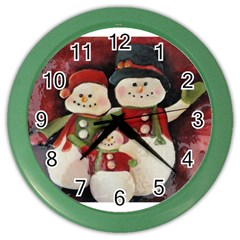 Snowman Family No. 2 Color Wall Clocks
