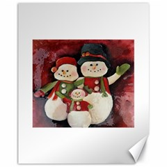 Snowman Family No. 2 Canvas 11  x 14