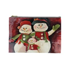 Snowman Family No. 2 Cosmetic Bag (Large)