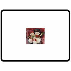 Snowman Family No. 2 Fleece Blanket (Large)
