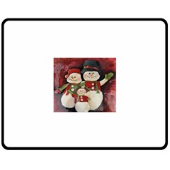 Snowman Family No. 2 Fleece Blanket (Medium)