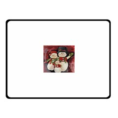 Snowman Family No. 2 Fleece Blanket (Small)