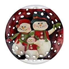 Snowman Family No. 2 Round Filigree Ornament (2Side)