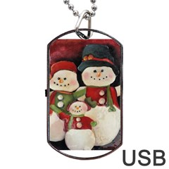Snowman Family No. 2 Dog Tag USB Flash (One Side)