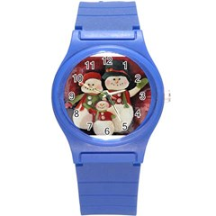 Snowman Family No. 2 Round Plastic Sport Watch (S)