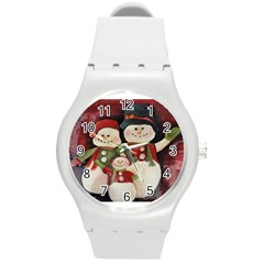 Snowman Family No. 2 Round Plastic Sport Watch (M)