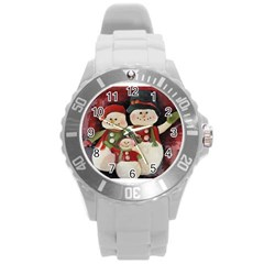 Snowman Family No. 2 Round Plastic Sport Watch (L)