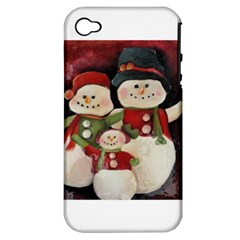 Snowman Family No. 2 Apple iPhone 4/4S Hardshell Case (PC+Silicone)