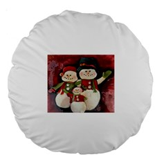 Snowman Family No. 2 Large 18  Premium Round Cushions