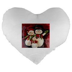 Snowman Family No. 2 Large 19  Premium Heart Shape Cushions