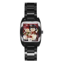 Snowman Family No. 2 Stainless Steel Barrel Watch
