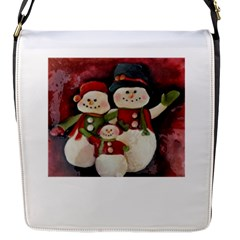 Snowman Family No. 2 Flap Messenger Bag (S)
