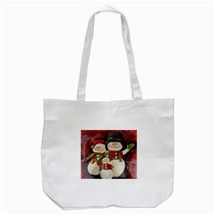 Snowman Family No. 2 Tote Bag (White)